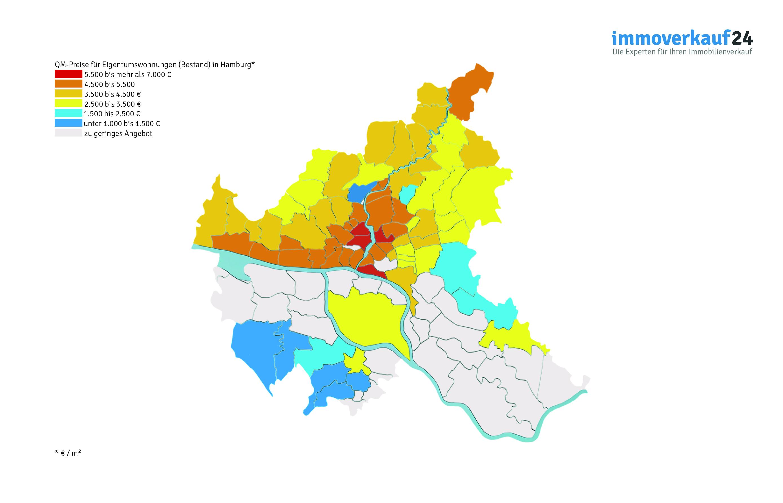 Grafik Wohnungspreise Hamburg Karte