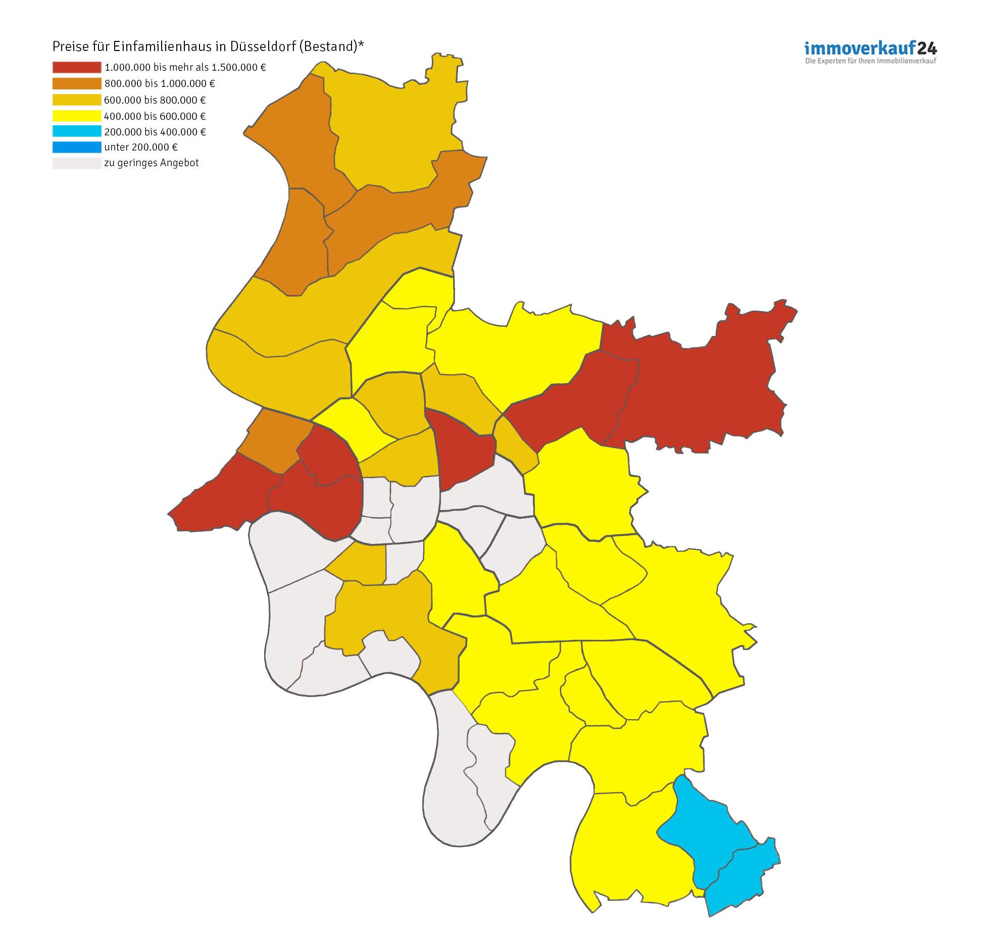 Karte Düsseldorf Grafik Hauspreise