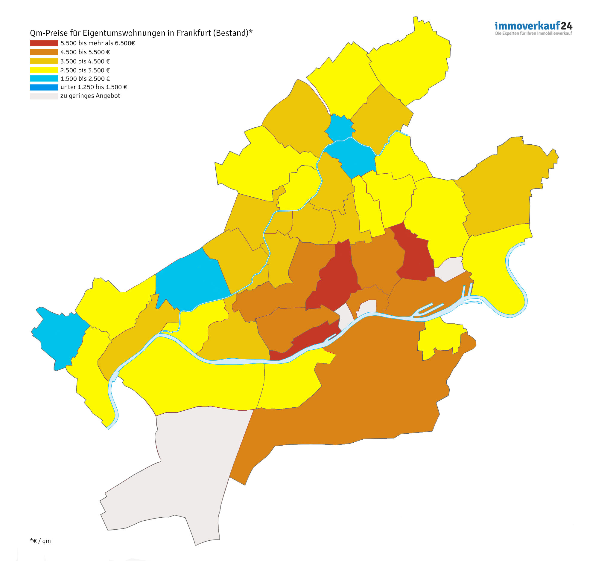 Karte Frankfurt Wohnungspreise Grafik