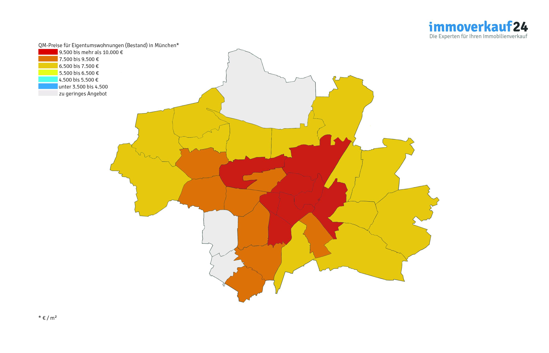 Karte Grafik Wohnungspreise München