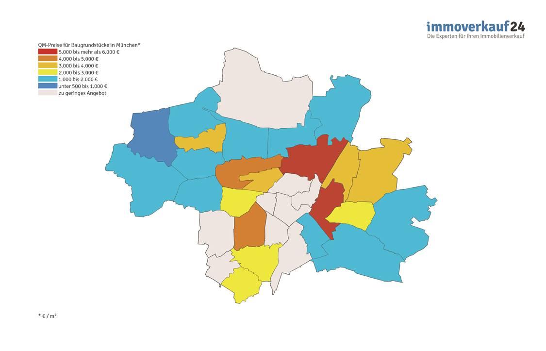 Karte Grundstückspreise München